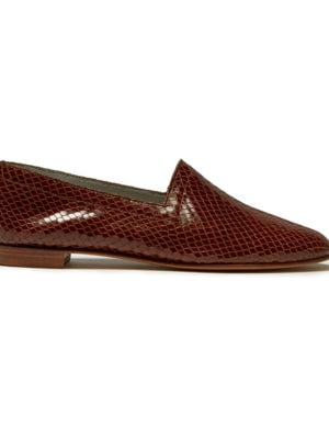 Ops&Ops No10 Tobacco textured leather flats, side view