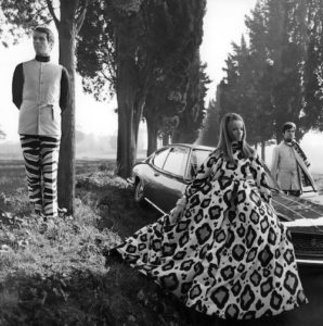 Veruschka in large animal print pyjama gown