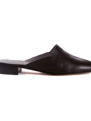 Ops&Ops No13 Matte Black leather slides with black edge and heel, side view