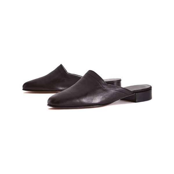 Ops&Ops No13 Matte Black leather slides with black edge, pair