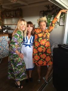 Edith Bowman, Ophelia Lovibond and DJ Gemma Cairney at roof-top pop-up