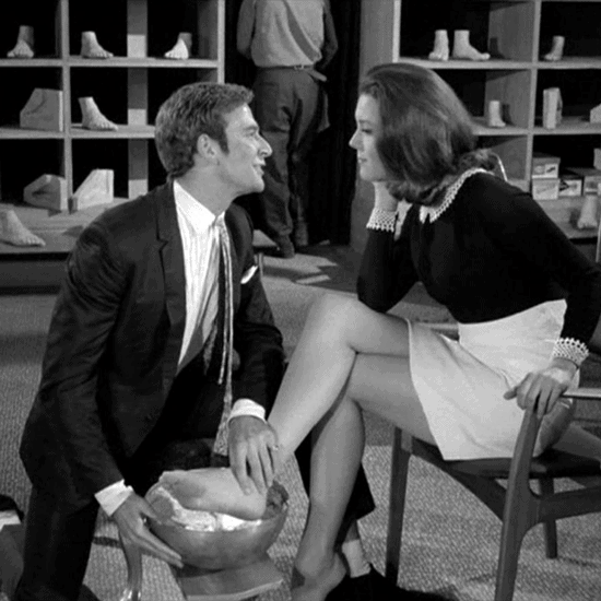 Emma Peel gets a foot cast in The Avengers