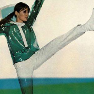 Jean Shrimpton in green Victoire sportswear for Hauser Sport, Brian Duffy 1966