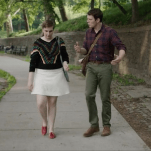 Girls season 5, episode 7 Hannah (Lena Dunham) walking in Red Patent No10s