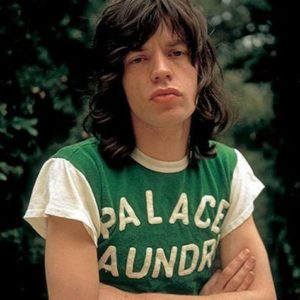 Mick Jagger in green tee, by Jim Marshall 1972