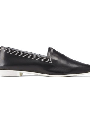 Ops&Ops No10 Black Racer leather multi-stitch flats, side view