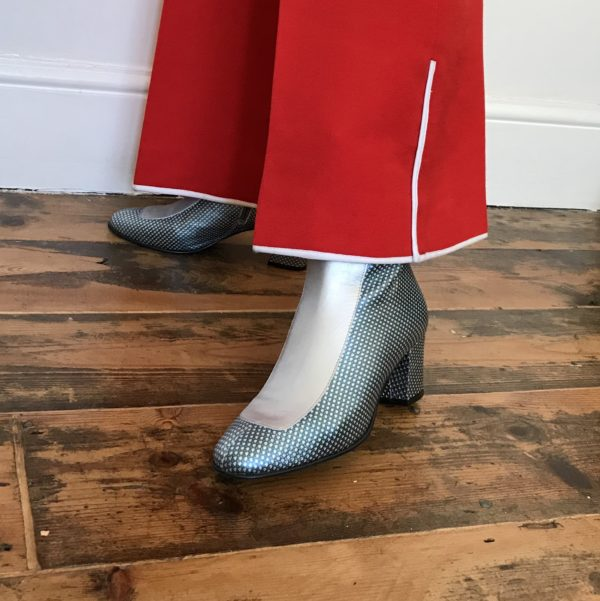 Ops&Ops No16 Silver Duo mid-heel boots worn with red wide-leg trousers