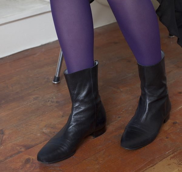 No12 Matte Black boots with dress and tights