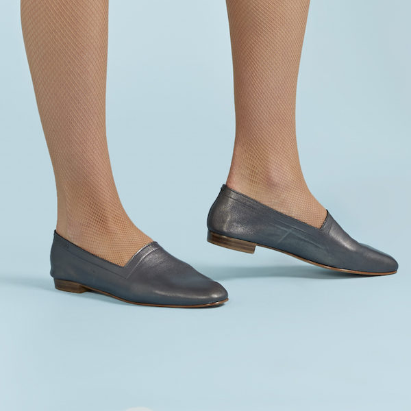 No10 Gunmetal metallic flats