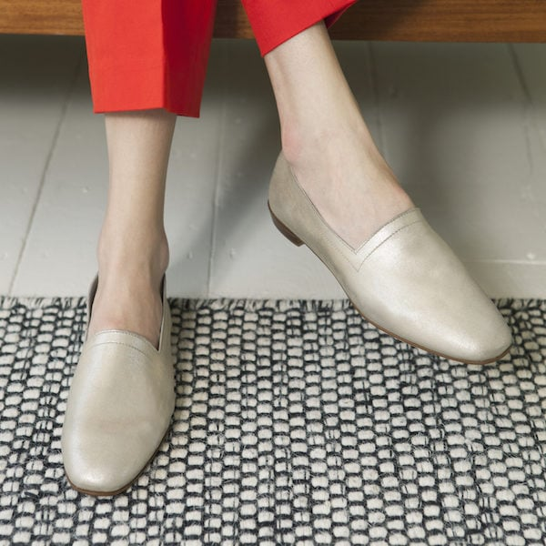 Ops&Ops No10 White Gold metallic flats